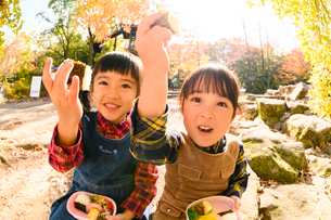 秋の公園でおにぎりを食べる子供の写真素材 [FYI03131346]