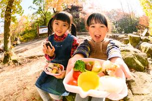 秋の公園でお弁当を食べる子供の写真素材 [FYI03131347]