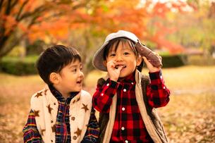 秋の公園で焼き芋を食べる子供の写真素材 [FYI03131389]