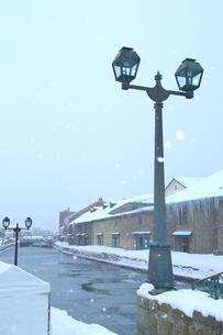 降雪の小樽運河の写真素材 [FYI03131858]