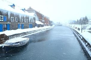 降雪の小樽運河の写真素材 [FYI03131868]