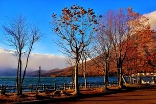日光 紅葉の中禅寺湖と男体山の写真素材 [FYI03132888]