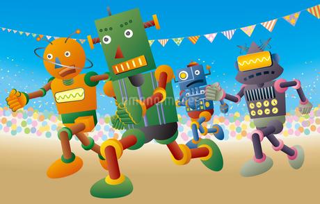 運動会で短距離走をするロボット達のイラスト素材 [FYI03133484]