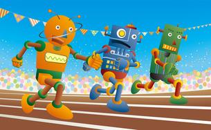 運動会で短距離走をするロボット達のイラスト素材 [FYI03133485]