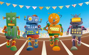 運動会で短距離走をするロボット達のイラスト素材 [FYI03134723]