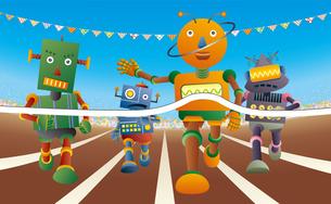 運動会で短距離走をするロボット達のイラスト素材 [FYI03134724]
