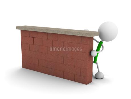 壁に隠れる棒人間のイラスト素材 [FYI03135322]