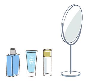 鏡と化粧品のイラスト素材 [FYI03135696]
