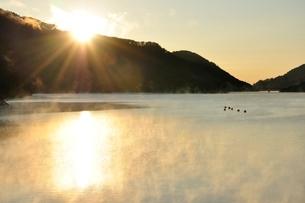 宮ヶ瀬湖 朝日と川霧の写真素材 [FYI03135877]
