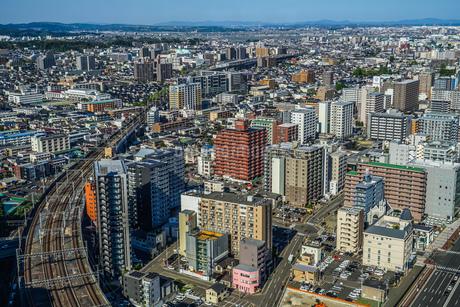 晴天の仙台市内の街並みの写真素材 [FYI03136243]