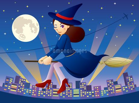 街を飛ぶ可愛い魔女の女の子のイラスト素材 [FYI03136697]