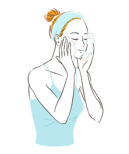 スキンケアをする女性 顔を洗うのイラスト素材 [FYI03136799]