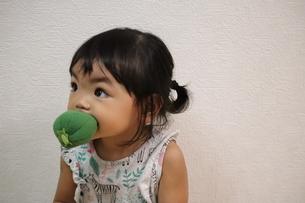 ピーマンを頬張る女の子の写真素材 [FYI03136843]