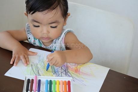 お絵描きを楽しむ女の子の写真素材 [FYI03136844]