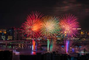 東京湾の花火大会の写真素材 [FYI03137325]