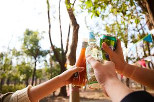 木の茂みで乾杯をしている人々の手元の写真素材 [FYI03137689]