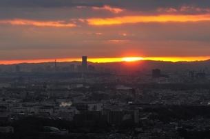 地平線から覗く太陽の写真素材 [FYI03137976]