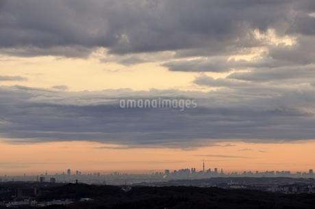 遠望 朝焼けの東京のビル群の写真素材 [FYI03137986]