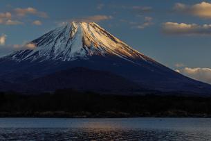 精進湖から夕景の富士山を望むの写真素材 [FYI03138040]