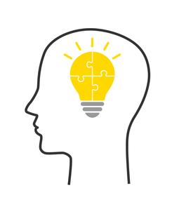 人の顔とパズルの電球のイラスト素材 [FYI03139015]