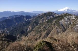 鍋割山より箱根山と富士山のパノラマの写真素材 [FYI03139329]
