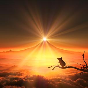 富士山の日の出とネズミのシルエットの写真素材 [FYI03139597]