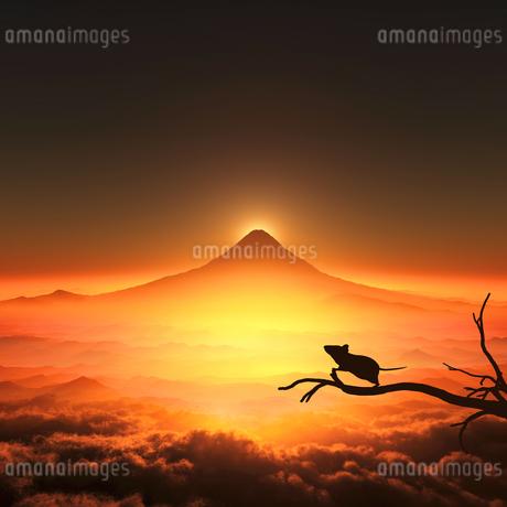 富士山の日の出とネズミのシルエットの写真素材 [FYI03139598]