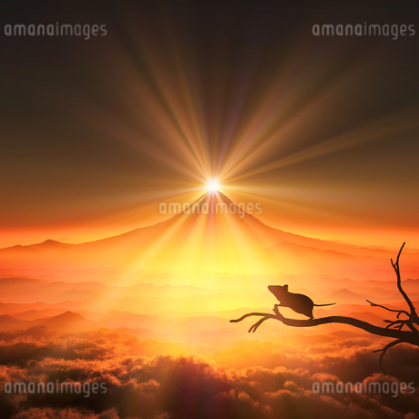 富士山の日の出とネズミのシルエットのイラスト素材 [FYI03139599]