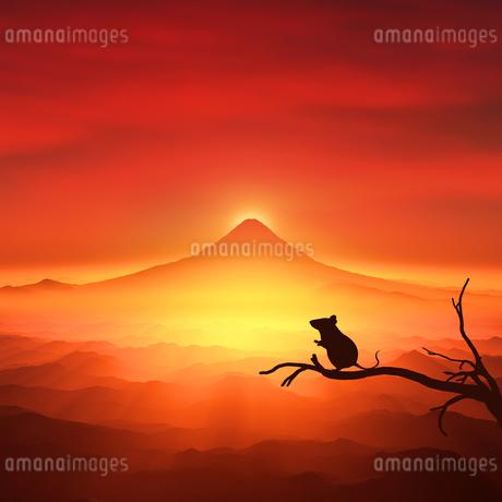 富士山の日の出とネズミのシルエットのイラスト素材 [FYI03139600]