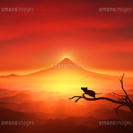 富士山の日の出とネズミのシルエットのイラスト素材 [FYI03139602]