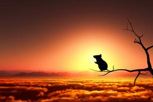日の出とネズミのシルエットのイラスト素材 [FYI03139611]