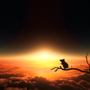 日の出とネズミのシルエットのイラスト素材 [FYI03139613]