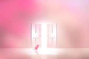 光が射し込むドアとネズミのイラスト素材 [FYI03139643]