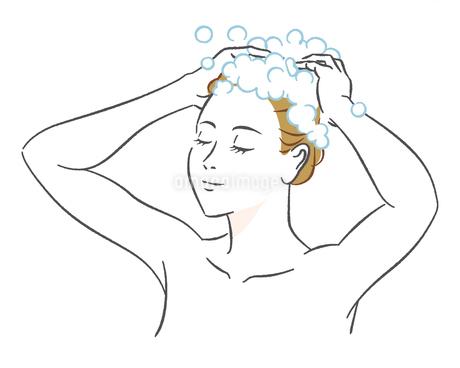 シャンプーする女性のイラスト素材 [FYI03139752]