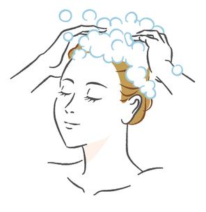 髪を洗う女性のイラスト素材 [FYI03139753]
