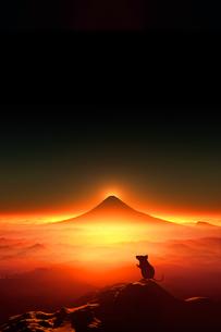 富士山の日の出とネズミのシルエットのイラスト素材 [FYI03140315]