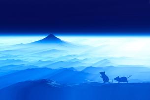 富士山の夜明けとネズミのシルエットのイラスト素材 [FYI03140323]