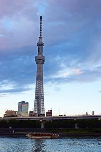 夕方のスカイツリーと屋形船の写真素材 [FYI03140452]