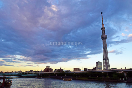 夕方の隅田川の写真素材 [FYI03140453]