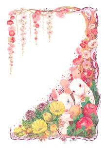 枝垂れ梅の下の白いネズミのイラスト素材 [FYI03140581]