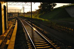 夕日に照らされた駅のホームから見たどこまでも続く線路の写真素材 [FYI03141308]