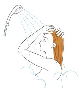 シャワーを浴びる女性のイラスト素材 [FYI03141317]