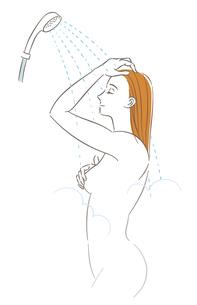 シャワーを浴びる女性のイラスト素材 [FYI03141318]