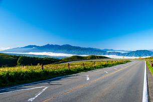 霧ヶ峰高原 ビーナスラインと南アルプス連峰の写真素材 [FYI03142401]