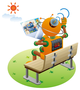未来の技術、公園でビデオ通話を行うロボット。のイラスト素材 [FYI03142454]