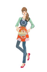 エプロンをしてフライパンで料理をする女性のイラスト素材 [FYI03143940]