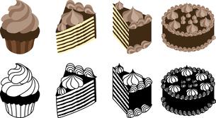 チョコレートケーキの可愛いアイコンのイラスト素材 [FYI03144753]