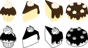 チョコレートシフォンケーキの可愛いアイコンのイラスト素材 [FYI03144754]
