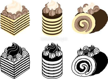 いろいろなチョコレートケーキの可愛いアイコンのイラスト素材 [FYI03144756]