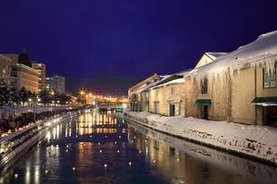 小樽運河 夜景の写真素材 [FYI03145064]